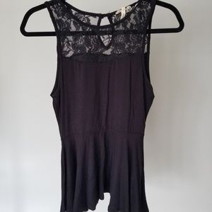 Peplum Top with Lace Neck Detail